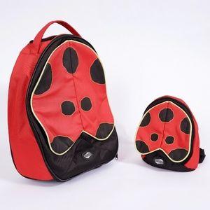 Ladybug luggage travel bag and mini backpack set